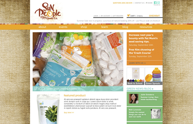 Sun People Dry Goods Co. Website